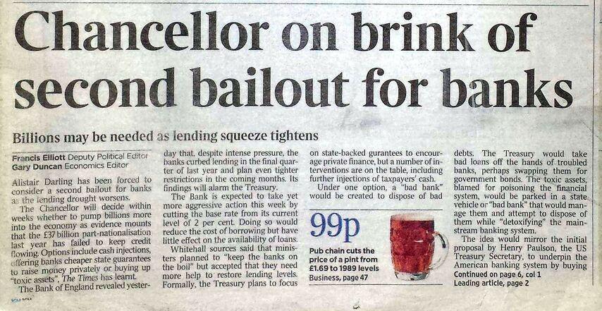 Первое звено цепи биткойна содержало заголовок из «Таймс» от 3 января 2009 года: «Канцлер готов во второй раз предоставить банкам государственные субсидии»