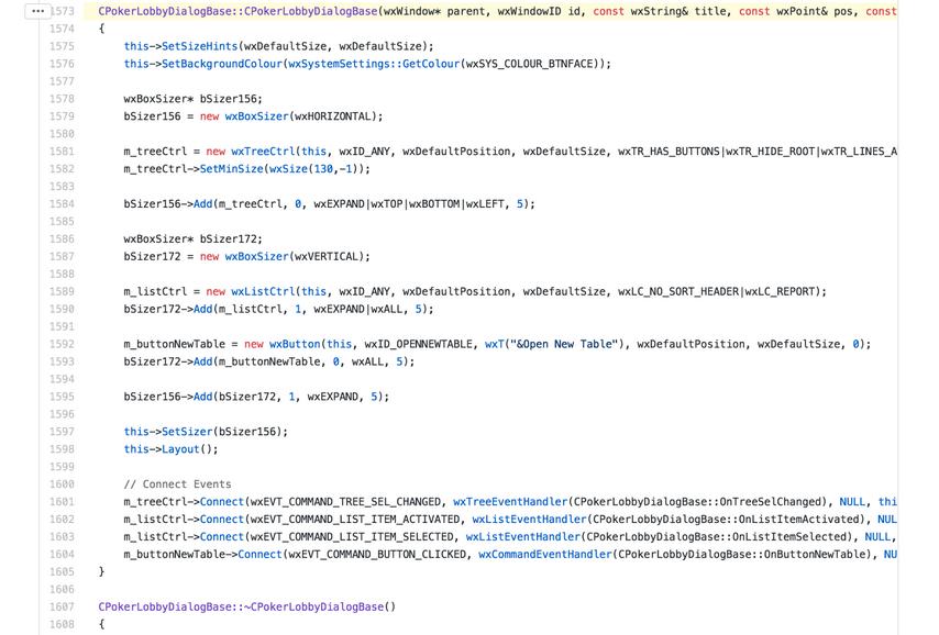 Код биткойна с упоминанием покера (GitHub)